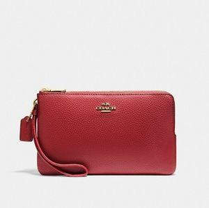 Coach NWT Double Zip Wallet Wristlet Deep Red